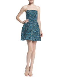 Strapless Allover-Sequined Cocktail Dress, Cobalt