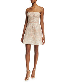 Strapless Embroidered Cocktail Dress, Blush