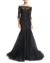 Off-the-Shoulder Chantilly Lace Mermaid Gown
