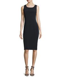 Sleeveless Crepe Sheath Dress, Black/Black