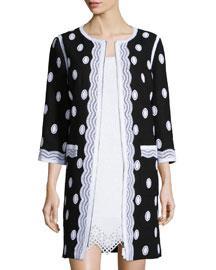 Embroidered Tweed Zip-Front Topper Coat
