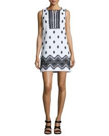 Sleeveless Fringe-Trim Tweed Shift Dress, White/Black