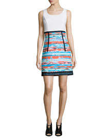 Sleeveless A-Line Combo Dress, Multi