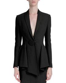 One-Button Peplum Jacket, Black