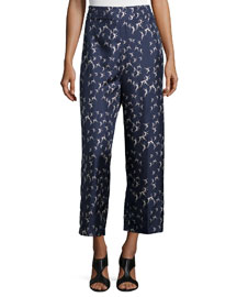 Dancer-Print Cropped Silk Pants, Ultramarine