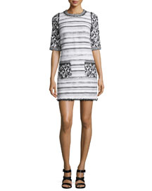 Mixed-Tweed Half-Sleeve Dress, Black/White