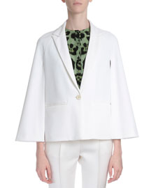 Cape-Sleeve One-Button Jacket, White
