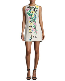 Sleeveless Floral-Embroidered Linen Dress, Beige