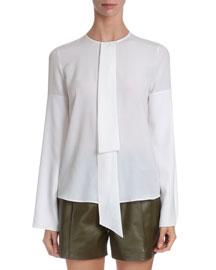 Silk Crepe Neck-Tie Blouse, White