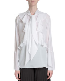 Ruffle-Front Neck-Tie Blouse, White