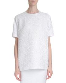 Short-Sleeve Oversized Lace Blouse, White