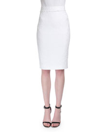 High-Waist Lace Pencil Skirt, White