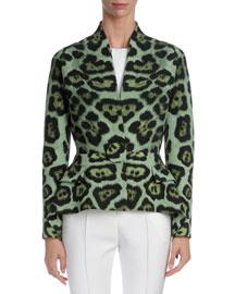 Leopard-Print One-Button Peplum Jacket, Emerald