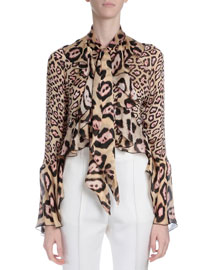 Ruffled Silk Button Blouse, Pink Leopard