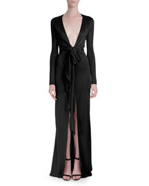 Plunging-V Long-Sleeve Gown, Black
