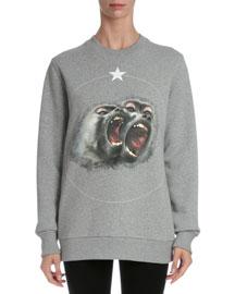 Monkey-Print Pullover Sweatshirt, Gray