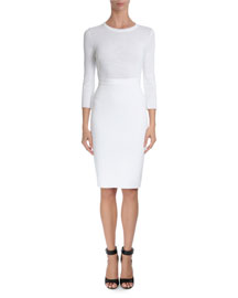 3/4-Sleeve Punto Milano Fitted Dress, White