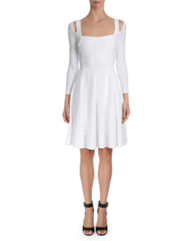 Textured-Wave Fit-&-Flare Dress, White