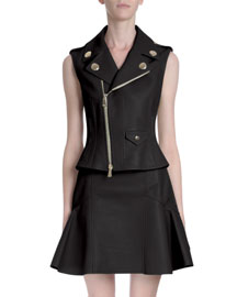 Zip-Front Leather Moto Vest, Black