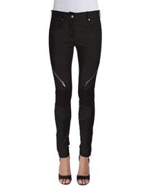 Milano Paneled Leather Moto Pants, Black