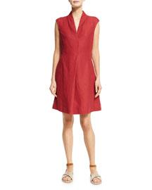 Hollie Cap-Sleeve Linen Dress, Black Cherry