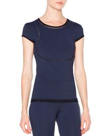 Cap-Sleeve Mesh-Inset T-Shirt, Navy