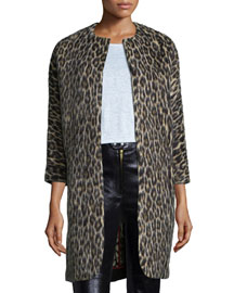 Leopard-Print 3/4-Sleeve Coat