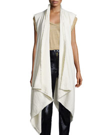 Open-Front Draped Cozy Vest