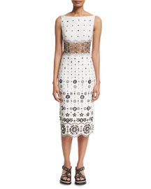 Eyelet-Embroidered Gabardine Sheath Dress, White