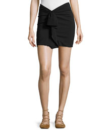 Ruffled Linen-Stretch Jersey Mini Skirt, Black
