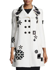 Crystal-Embellished Bracelet-Sleeve Wool Coat, Ivory