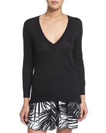 V-Neck Cashmere-Silk Pullover Sweater, Black