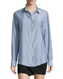 Pinstriped Cotton-Blend Button-Down Blouse, Blue