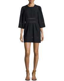 Ladder-Stitch Linen/Cotton Dress, Black