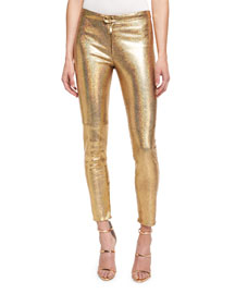 Glittered Leather Leggings, Gold