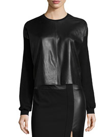 Boxy Leather-Front Sweater, Black