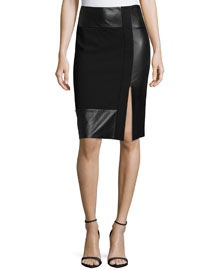 Paneled Leather & Wool-Crepe Pencil Skirt, Black