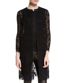 Mid-Length Open Lace Coat, Black