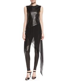 Stretch-Leather Leggings, Black