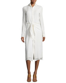 Silk Georgette Tie-Waist Shirtdress