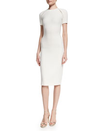 Wool-Crepe Short-Sleeve Sheath Dress, Cream