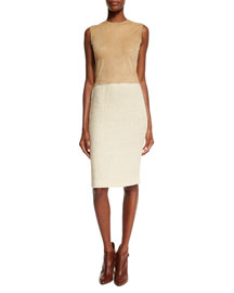Suede & Tweed Sheath Dress, Cream