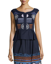 Embroidered Stretch-Cotton Peplum Top, Navy