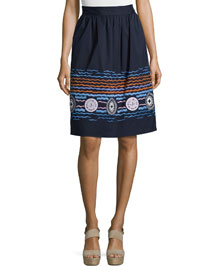 Embroidered Stretch-Cotton A-Line Skirt, Navy