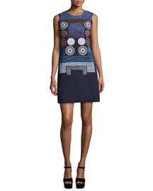 Embroidered Sleeveless Shift Dress, Navy