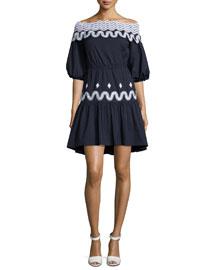 Off-the-Shoulder Full-Sleeve Dress, Navy