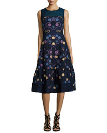 Embroidered Sleeveless Midi Dress, Navy