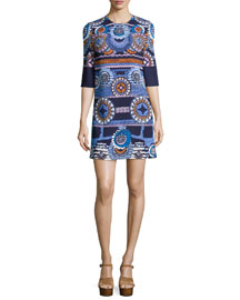 Medallion-Print Jersey Tunic Dress, Navy