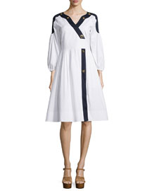 Full-Sleeve Faux-Wrap Dress, White