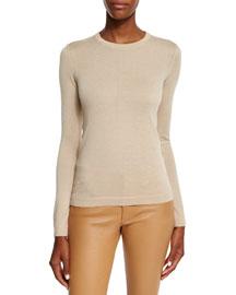 Long-Sleeve Cashmere Crewneck Sweater, Honey